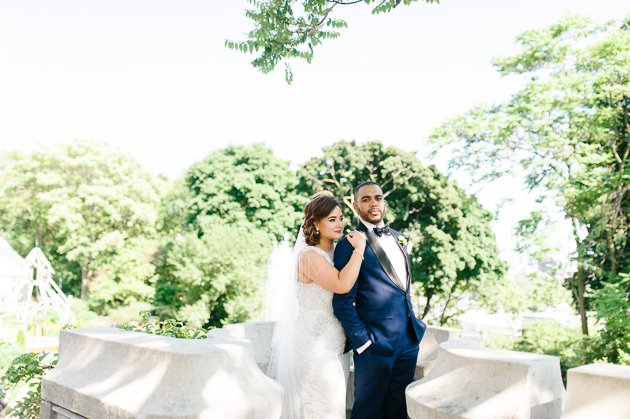Casa Loma Wedding in Toronto, creative outdoor shoot with the bride and groom moments after their ceremony.