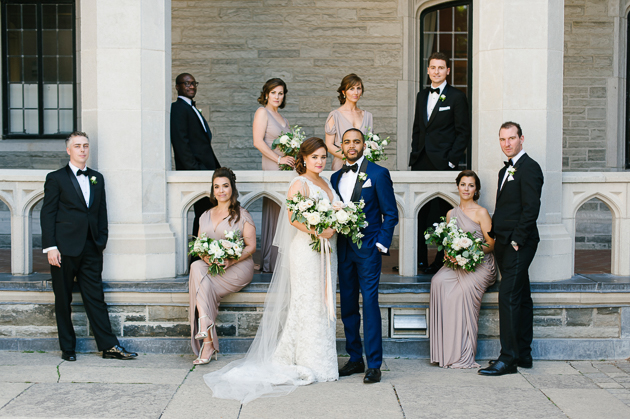 Casa Loma Wedding in Toronto portrait photography of the bridesmaids and groomsmen.