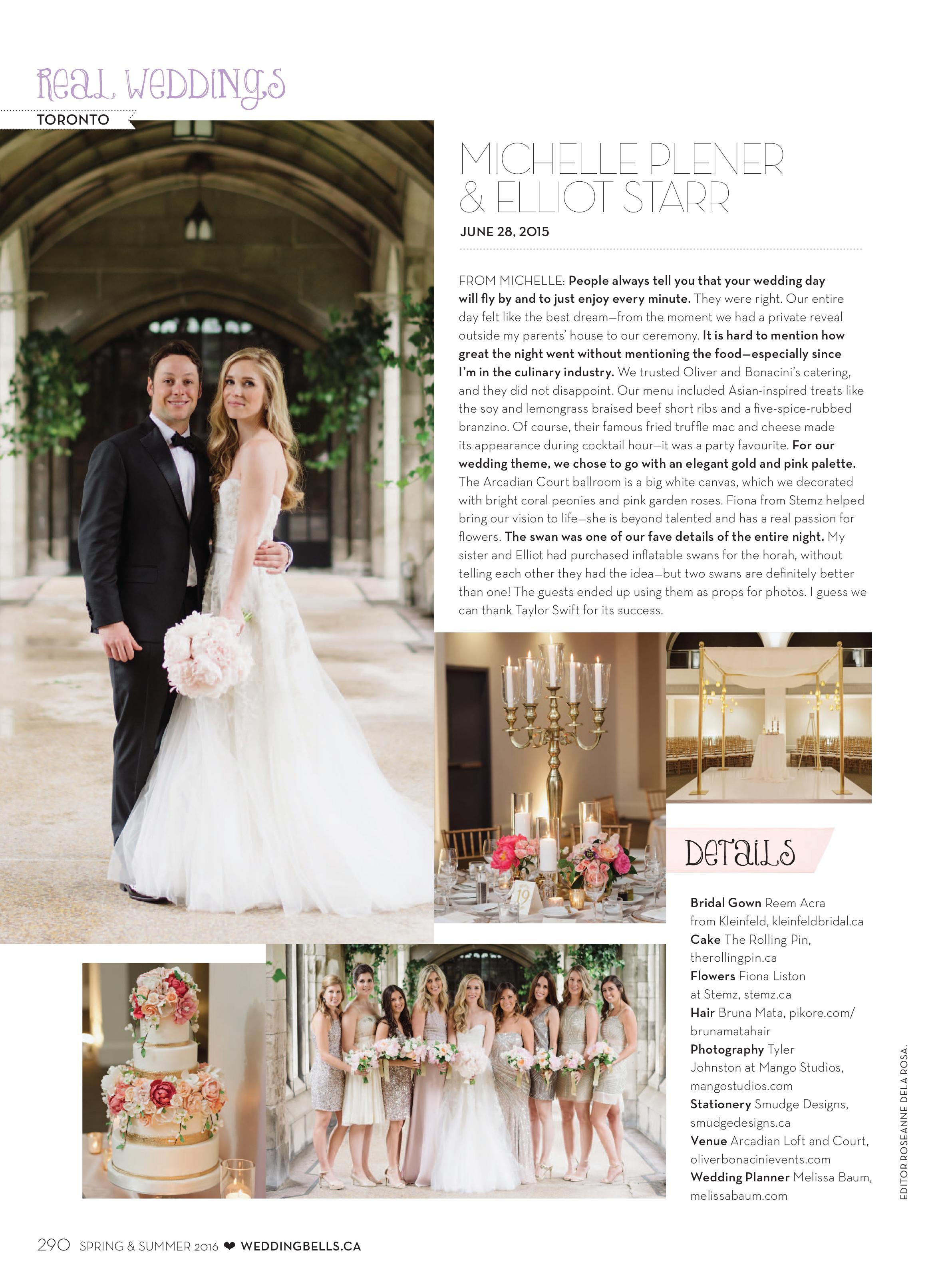 Arcadian Court Wedding featured in Weddingbells Magazine