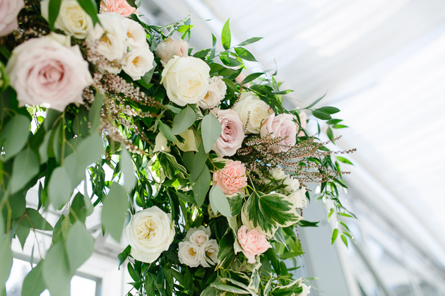 Casa Loma Wedding Toronto, wedding details photography. Beautiful blush tone roses and green flower arrangements.