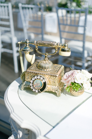 Casa Loma Wedding Toronto, wedding detail photography. Vintage gold and white rotary phone.