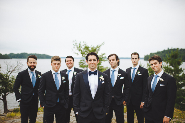 Muskoka Wedding Toronto Photography. Portrait photography of the handsome groom and his groomsen in black suits.
