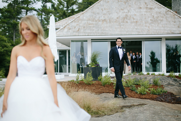 Muskoka Wedding Toronto Photography. Portrait photography of bride and groom's exciting first look.