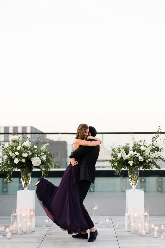 Chez Lavelle Rooftop Toronto Couple's Photography. Proposal photoraphy, the moment after she agreed to spend the rest of her life with him.