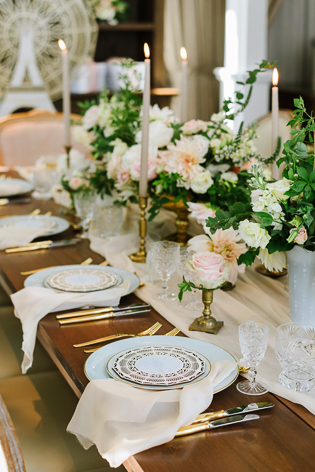 Colette Grand Cafe Editorial Bridal Shower Photography Toronto. Blush blooms, gold accents, candelabras and crystal elements complement one another beautifully in this table setting.