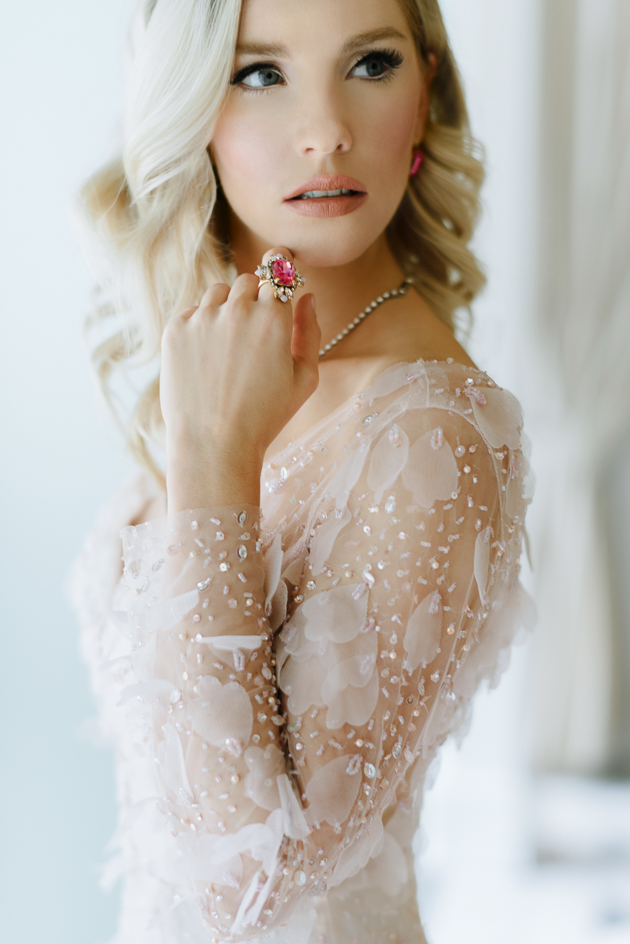 Colette Grand Cafe Editorial Bridal Photography Toronto. Portrait photography of bride in her blush chiffon dress.