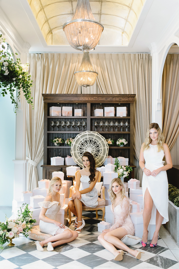 Colette Grand Cafe Editorial Bridal Shower Photography Toronto. French inspired interior design of this restuarant creates a romantic and timeless backdrop for an editorial shoot with a colour palette that is light and sweet.