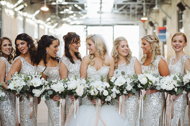 Liberty Grand Wedding Venue. Bridal party portrait photography all in white and sparkles.