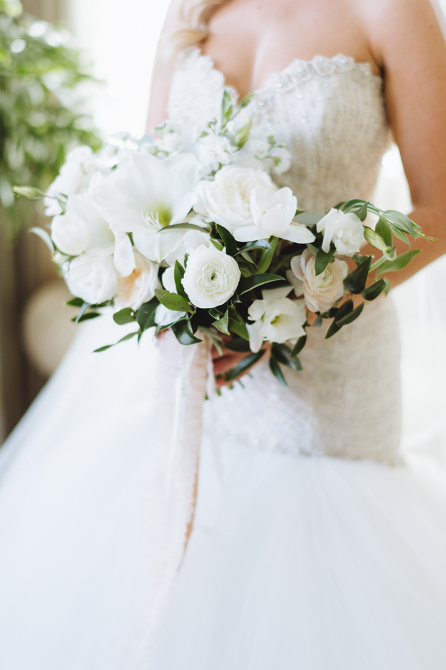 Liberty Grand Wedding Venue. Bridal gown and bouquet wedding details photography.