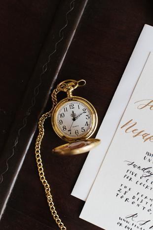 Toronto Wedding Details Photography. Gold pocket watch, wedding invitation card.