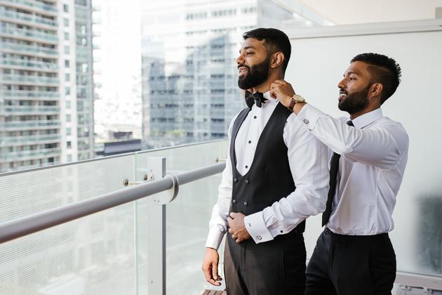 Toronto Wedding Photography. Groom gets ready photo session with the groomsmen.