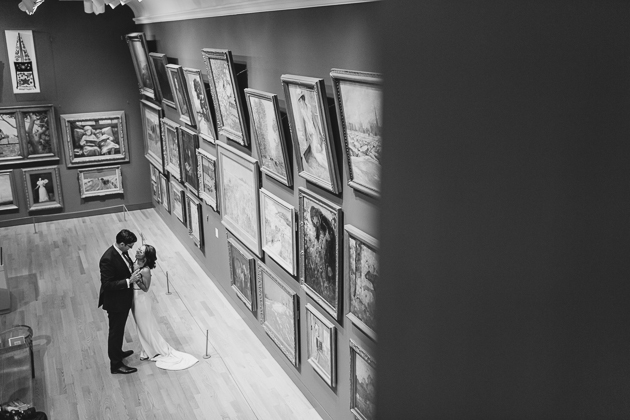 AGO Toronto Wedding Photography. Creative photo session with the bride and groom in the galleries.