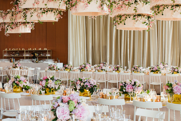 AGO Toronto Wedding Photography. Blush florals, gold accents and mauve table cloths create a sweet, elegant and stylish decor.