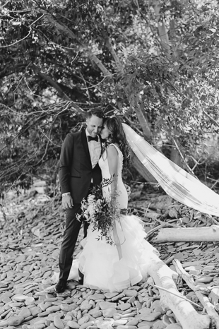 Happy bride and groom after their wedding ceremony at Holcim Estate