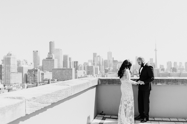 Park Hyatt Toronto Wedding Photography. Candid first look photos of the groom seeing his bride for the first time.