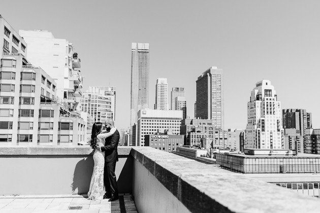 Park Hyatt Toronto Wedding Photography. Candid photos of the bride and groom moments after their first look.