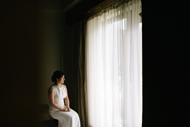 a bride catching a quiet moment in the morning at Le Germain hotel