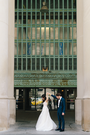 Dancing in the city. Bride and Groom after their ceremony at Fairmont Royal York