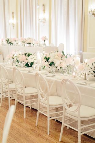 all white wedding reception at fairmont royal york