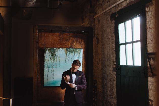 Fermenting Cellar Toronto Wedding Photographer. Groom waiting for his bride.