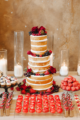 Fermenting Cellar Toronto Wedding Photography. Naked berry wedding cake suits the industrial chic wedding venue.