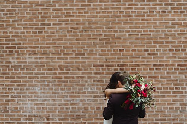Fermenting Cellar Toronto Wedding Photography against Brick Wall Background