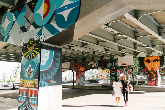 Colourful engagement photo shoot at Underpass Park