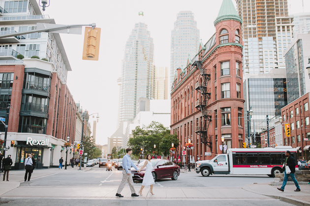 Sun-kissed engagement photo shoot in downtown Toronto