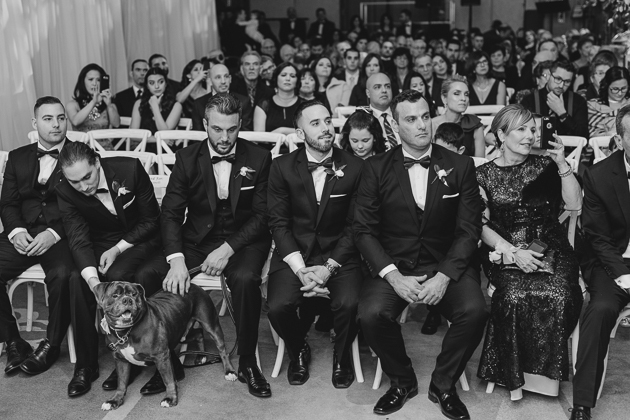 groomsmen and their dog seating in the front row at a wedding