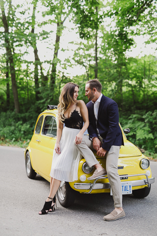 A car is a great prop at your engagement photo shoot