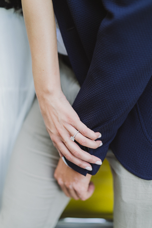 Show off your engagement ring during the engagement photo shoot