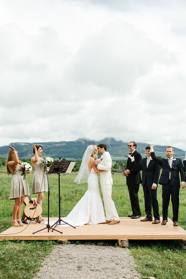 You may kiss the bride! Beautiful wedding ceremony in Colorado