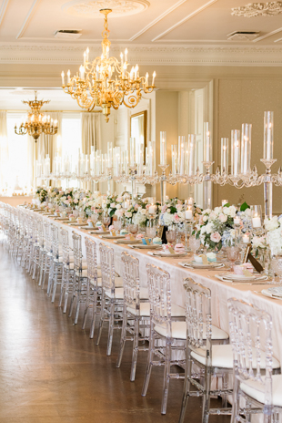 A single long-running table setting at the Graydon Hall Manor wedding
