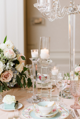 Tender pink blooms at Graydon Hall Manor wedding reception