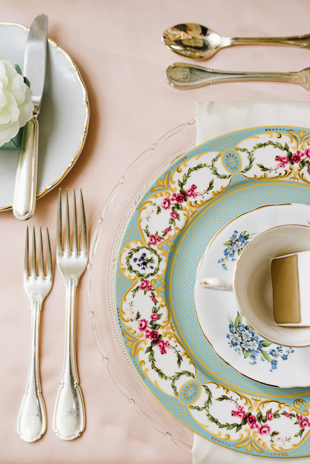 A closer look at mismatched china set at Graydon Hall Manor wedding