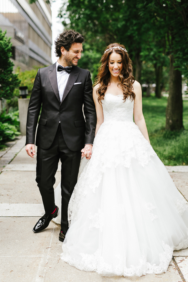 A couple's photo during their wedding in downtown Toronto