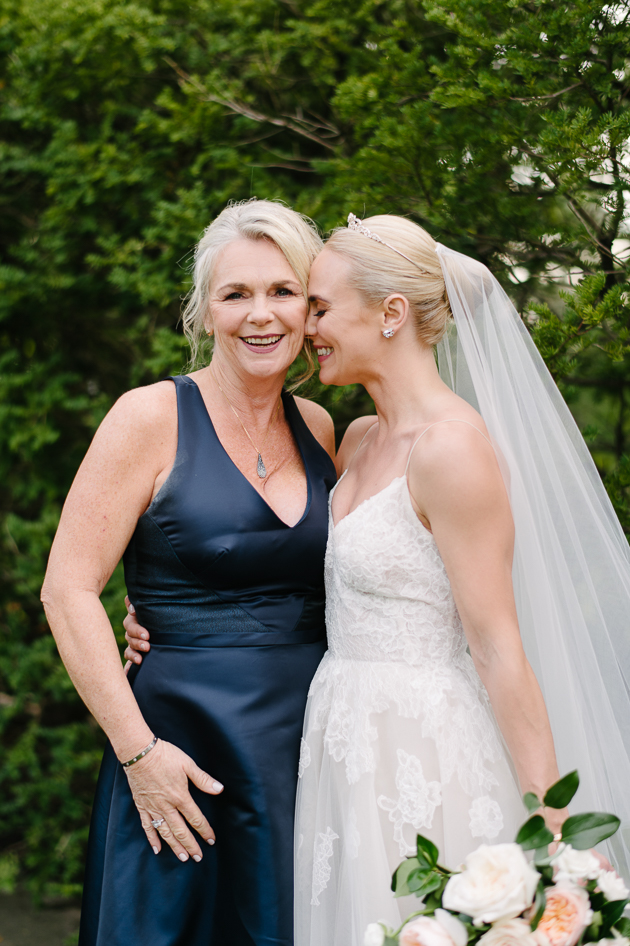 Happy bride and her mother during the wedding day