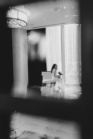 A bride getting ready in the morning at Ritz Carlton