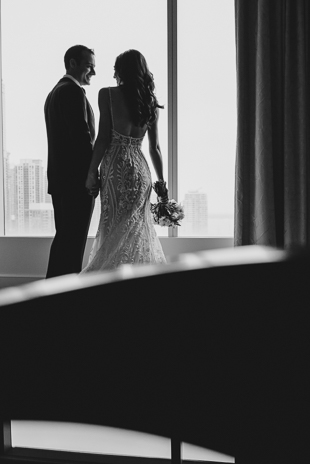 A bride and groom seconds after their First Look