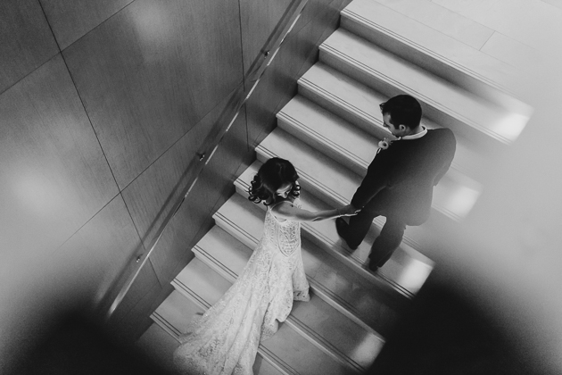 A bird's-eye view of the bride and groom at Ritz Carlton