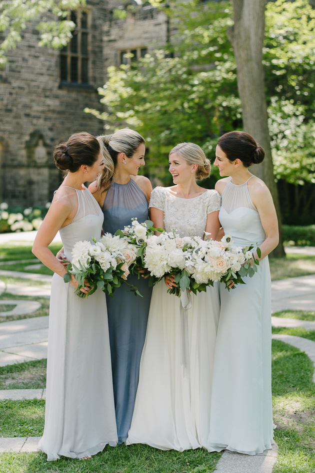 A bride and her beautiful bridesmaids during the wedding photo shoot at the U of T