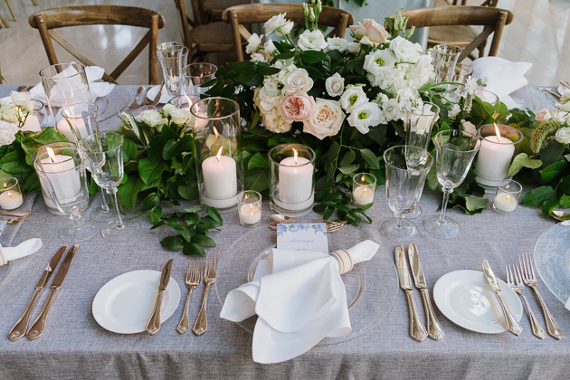 Organic wedding table scape at Royal Conservatory of Music