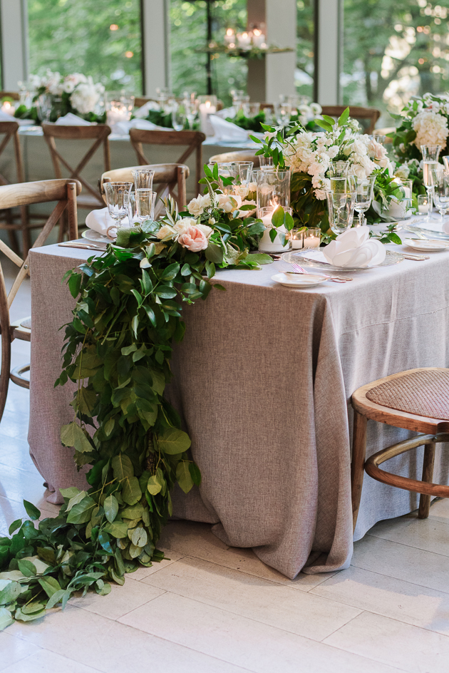 Loose greenery runner at Royal Conservatory wedding