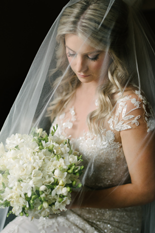A bridal portrait in a veil