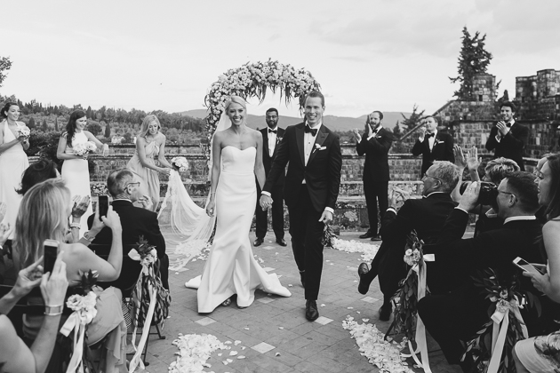 One of the classiest couples I know: the bride and groom seconds after their Italian wedding ceremony