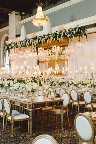 Cascading wisteria floral arrangement at this beautiful Liberty Grand wedding