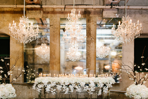 White orchid centrepieces at a Fermenting Cellar wedding