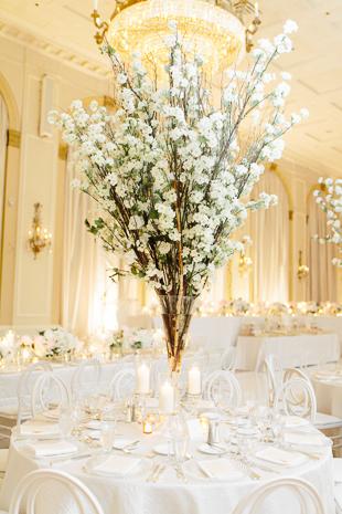 All white wedding decor at this Fairmont Royal York wedding