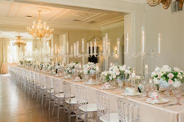 English tea and mismatched china wedding reception at Graydon Hall Manor