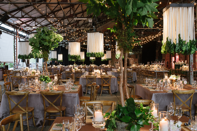 Forest wedding at an industrial Evergreen Brickworks